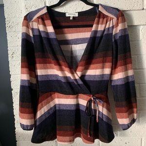 MONTEAU Womens Striped Blouse Top Size M